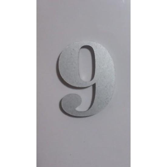 Gendec Kapı Numarası 5 cm No:9 Kendinden Yapışkanlı Metalik Gri Dolap,ayakkabılık,raf,posta Kutusu Numarası