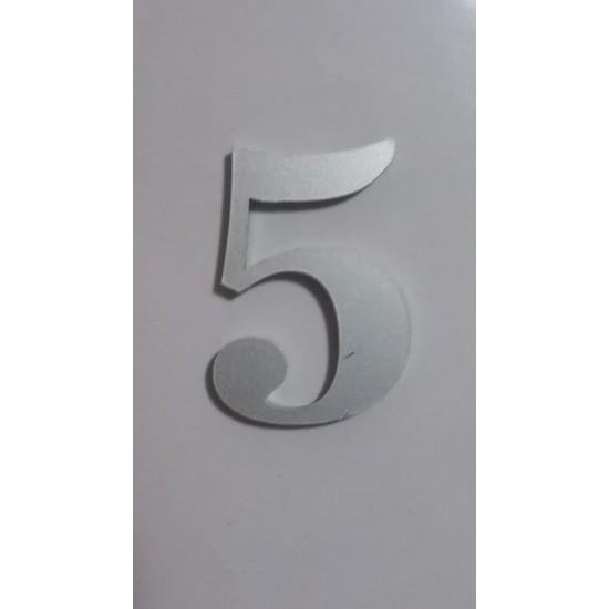 Gendec Kapı Numarası 5 cm No:5 Kendinden Yapışkanlı Metalik Gri Dolap,ayakkabılık,raf,posta Kutusu Numarası
