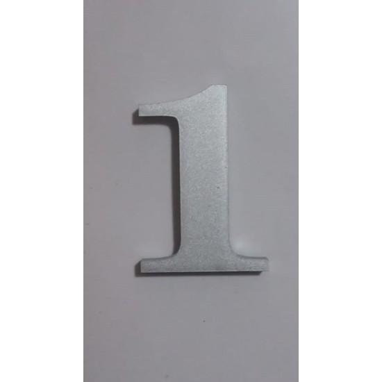 Gendec Kapı Numarası 5cm No:1 Kendinden Yapışkanlı Metalik Gri Dolap,raf,posta Kutu Numarası