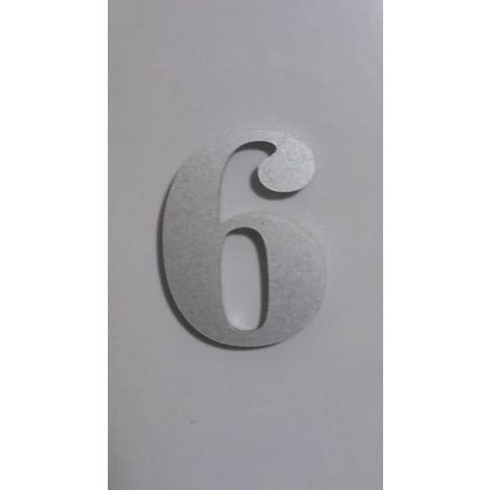 Gendec Kapı Numarası 5 cm No:6 Kendinden Yapışkanlı Metalik Gri Dolap,ayakkabılık,raf,posta Kutusu Numarası