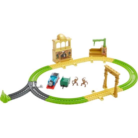 Thomas ve Arkadaşları Orman Macerası Oyun Seti, Motorlu Oyuncak Tren, Raylar, Saray, Ağaçlı Platform ve 2 Maymun Figürü Dahil FXX65