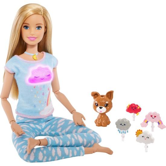 Barbie Wellness - Barbie Nefes Egzersizi Bebeği, Sarışın Bebek, 5 Işıklı ve Rehberli Meditasyon Egzersizi, Köpek Dahil GNK01