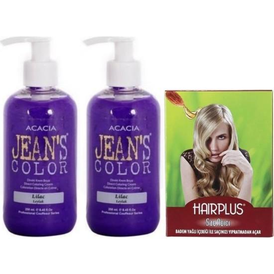 Acacia Jeans Color Saç Boyası Leylak 250ml 2AD ve Hairplus Saç Açıcı