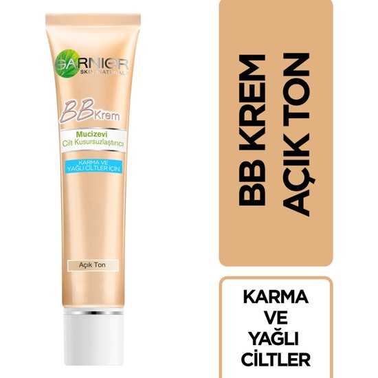 Garnier BB Krem Mucizevi Cilt Kusursuzlaştırıcı Karma/Yağlı Ciltler Açık Ton (Light) 50ML