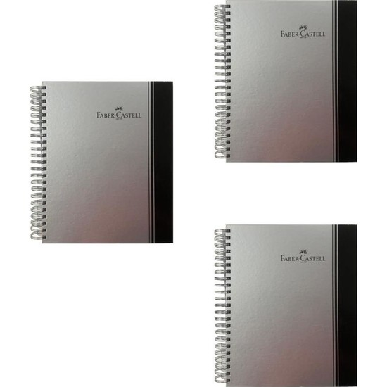 Faber-Castell Sert Kapak Spiralli Defter 200 Yaprak A4 3 Kareli +1 Çizgili + 1 Çizgisiz Ayraçlı 3'lü