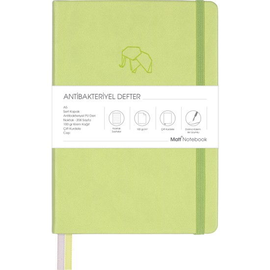 Matt Notebook A5 Antibakteriyel Defter Noktalı Açık Yeşil