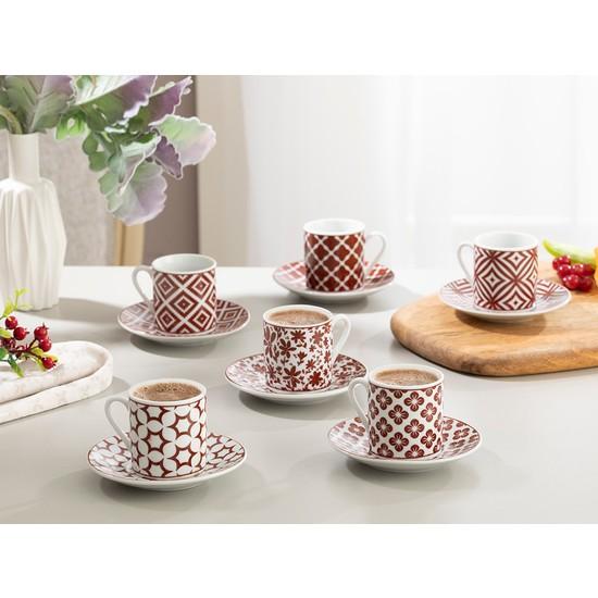 English Home Mira Porselen Kahve Fincan Takımı 80 ml Bordo