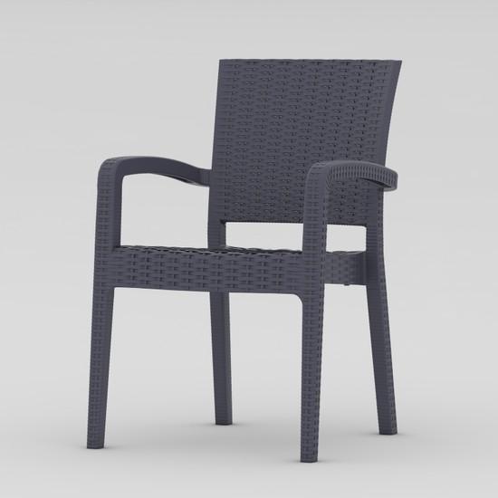 Sf Sandalye Fabrikası Plastik Luca Rattan Sandalye Antrasit