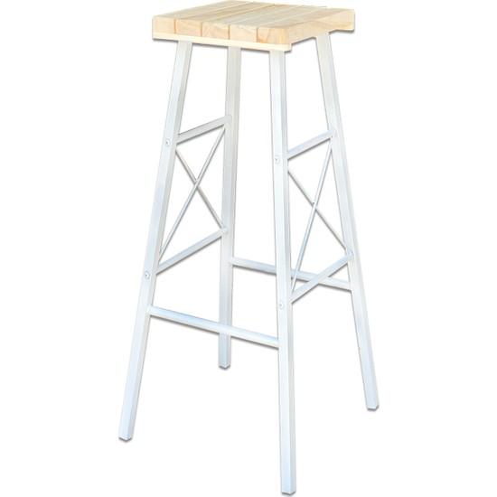 Weblonya Beyaz Bar Sandalyesi