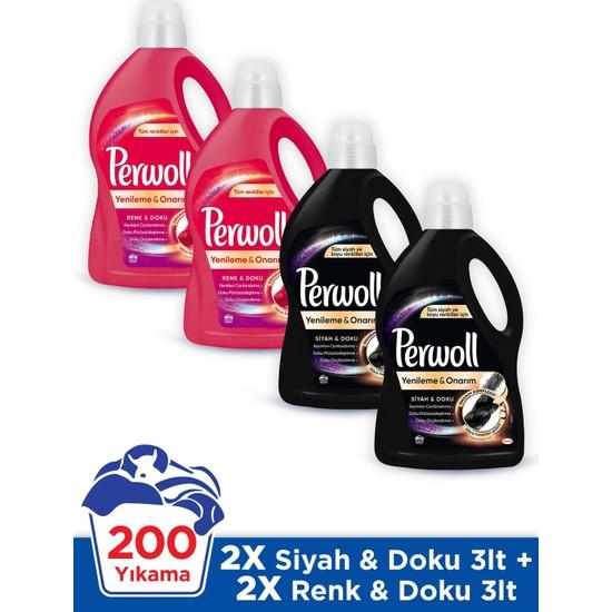 Perwoll Siyah Doku ve Renkli Doku 3 Litre 4'lü Çamaşır Deterjanı Seti 200 Yıkama