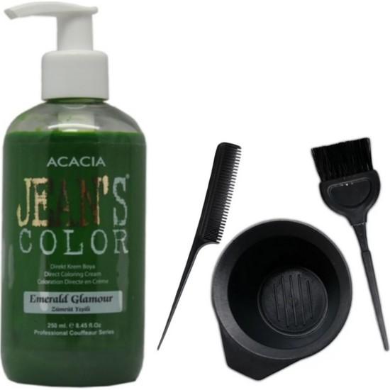 Acacia Jeans Color Saç Boyası Zümrüt Yeşili 250ml ve Saç Boya Kabı Seti
