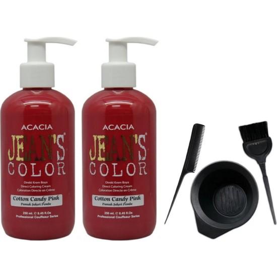Acacia Jeans Color Saç Boyası Pamuk Şekeri Pembe 250ml 2AD ve Saç Boya Kabı Seti