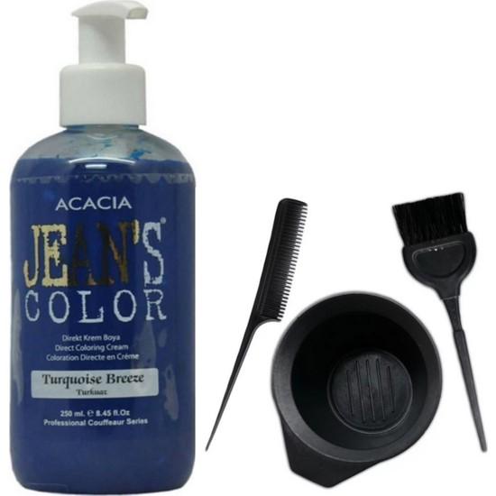 Acacia Jeans Color Saç Boyası Turkuaz 250ml ve Saç Boya Kabı Seti