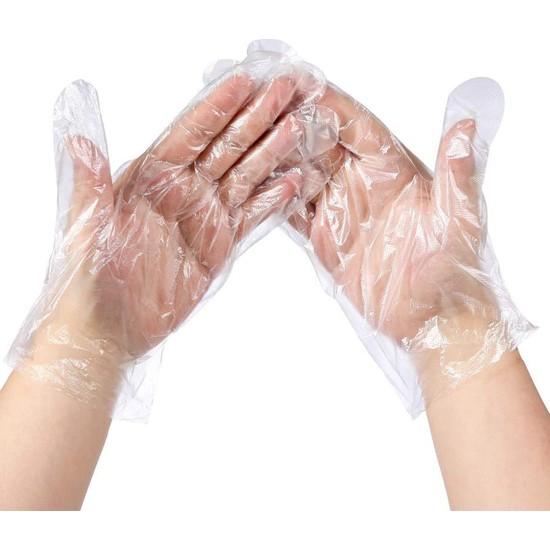 Zümre Polietilen Tek Kullanımlık Su Geçirmez Pet Şeffaf Eldiven 2 Paket 200 Adet