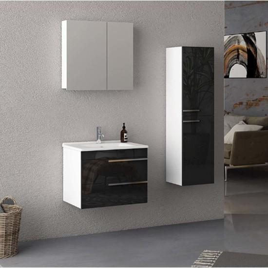 Nplus Dokker 65 cm Banyo Dolabı Beyaz - Siyah (Alt Modül + Üst Modül + Lavabo)