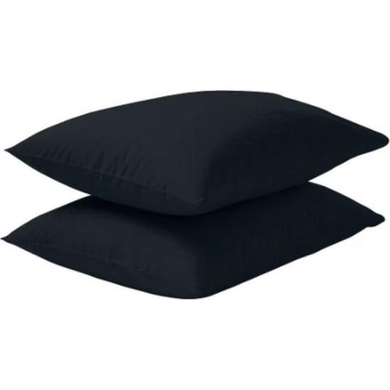 Soft Colours Natural Pamuk 2 Adet Siyah Kapaklı Yastık Kılıfı 50 x 70 cm