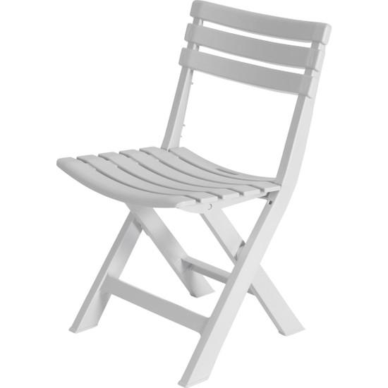 Sabanbaba Bahçe - Balkon Iç ve Dış Mekan Plastik Katlanır Sandalye Beyaz