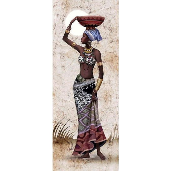Ananas Bilişim Sayılarla Boyama Hobi Seti + Fırça Tuval Ans-31 Afrikalı Kız RB-2