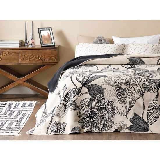 English Home Dark Mono Pamuklu Tek Kişilik Battaniye 150x200 cm Bej - Siyah