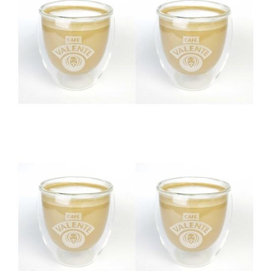 Cafe Valente Termo Cam Cappuccino Bardağı 4 ad 250 cc