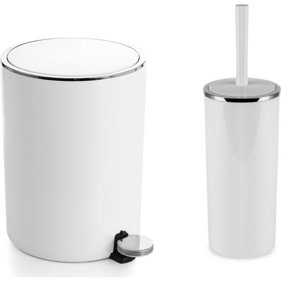 Primanova Lenox Pedallı Çöp Kovası + Lenox Tuvalet Fırçası Seti Beyaz