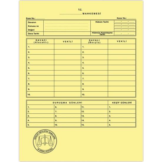 Kaya Mahkeme Dava İcra Avukat Dosyası Sarı 1. Kalite 50'li