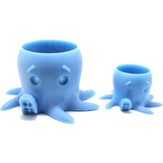 Propixel Ahtapot ve Yavru Kaktüs Sukulent Saksı (Mavi)