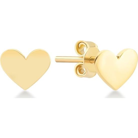 Gelin Pırlanta 14 Ayar Altın Kalpli Küpe