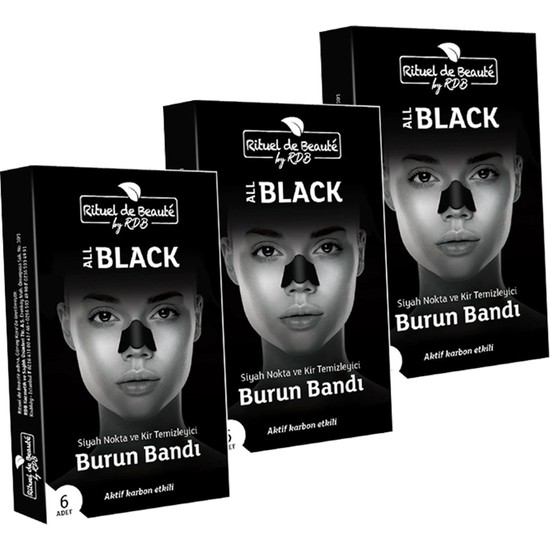 Rituel de Beaute Aktif Karbon Siyah Nokta ve Kir Temizleyici Burun Bandı 3 Kutu 18 Adet