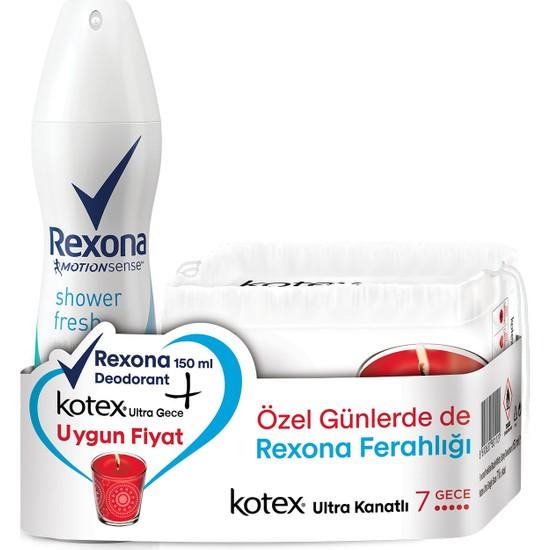 Rexona Shower Fresh Deodorant Sprey 150 ML + Kotex Ultra Gece 7'li 2'li Set