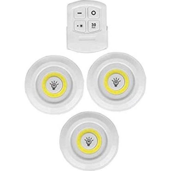 Technosmart 3'lü Uzaktan Kumandalı Yapışkanlı Kablosuz LED Spot Lambalar