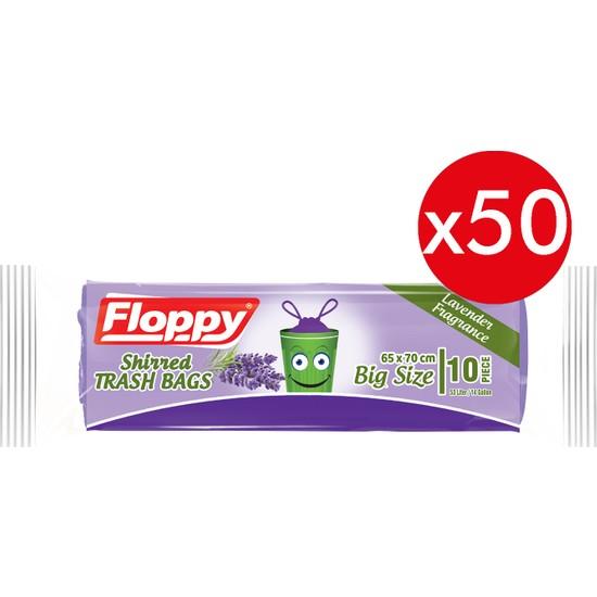 Floppy Lavanta Kokulu Büzgülü Çöp Torbası 65X70 cm 10'lu 150 gr 50 Adet