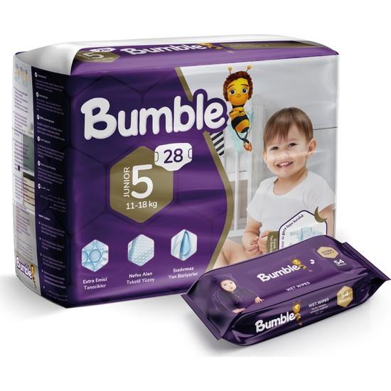 Bumble 5 Numara Junior Bebek Bezi Ikiz Paket+Bumble Baby Islak Mendil Hediyeli