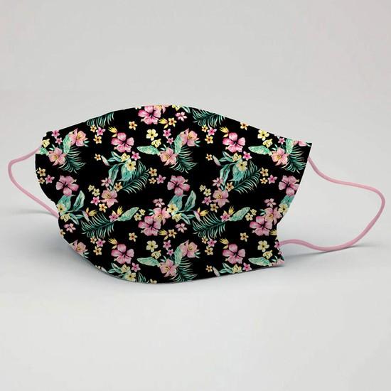 3nnn Çiçek Desen Yıkanabilir Maske 5 Adet