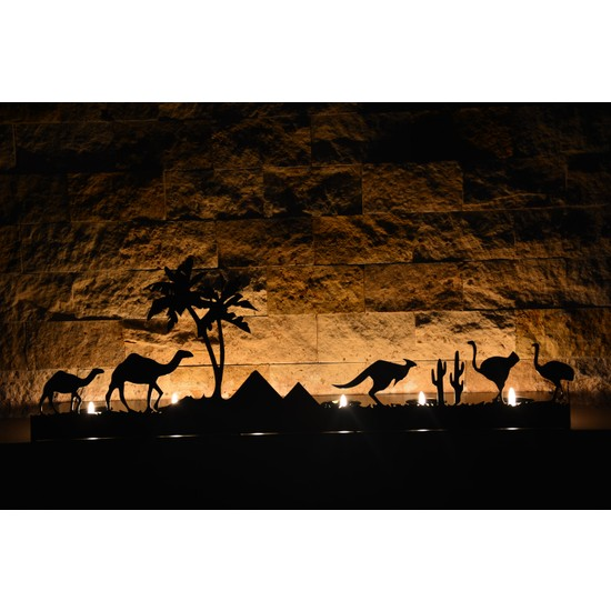 Pnr Quadruble Duble Camel Dekoratif 6 Lı Metal Mumluk Şamdan
