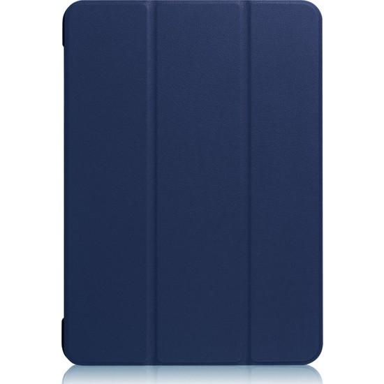 "CRESCENT Apple iPad 10.2"" 8.Nesil (2020) Leathersoft Smart Case Deri Tablet Kılıfı + 9h Ekran Koruyucu Cam + Kulaklık + Şarj Kablosu + Stylus Kalem 10.2"" (A2428/A2429/A2430) Mavi"