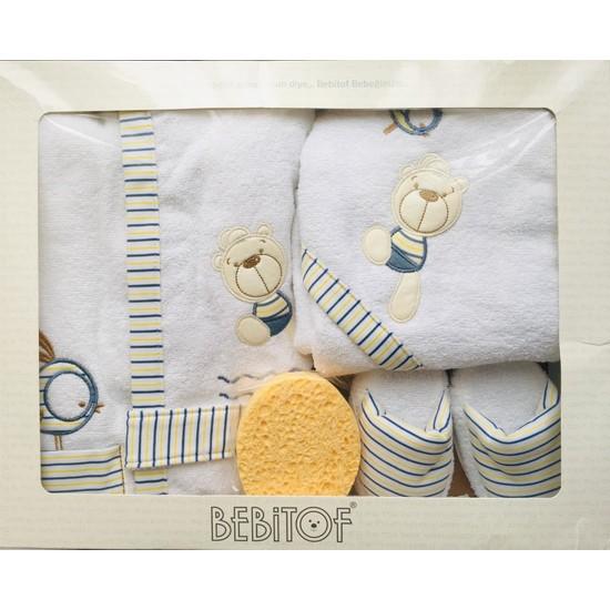 Bebitof Balonlu Ayıck Bebek Bornoz Seti Beyaz
