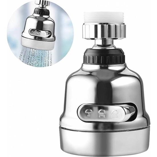 Euromix Tasarruflu Oynar Başlık Tazyikli Krom Eviye Musluk Spiral Batarya Ucu 3 Fonksiyonlu Kubarmusluk