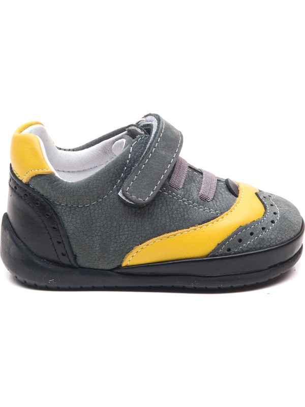 Minipicco Bebek Gri Deri İlk Adım Ayakkabı