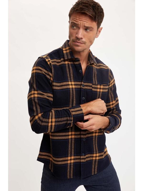 Defacto Erkek Ekose Uzun Kollu Modern Fit Oduncu Gömlek