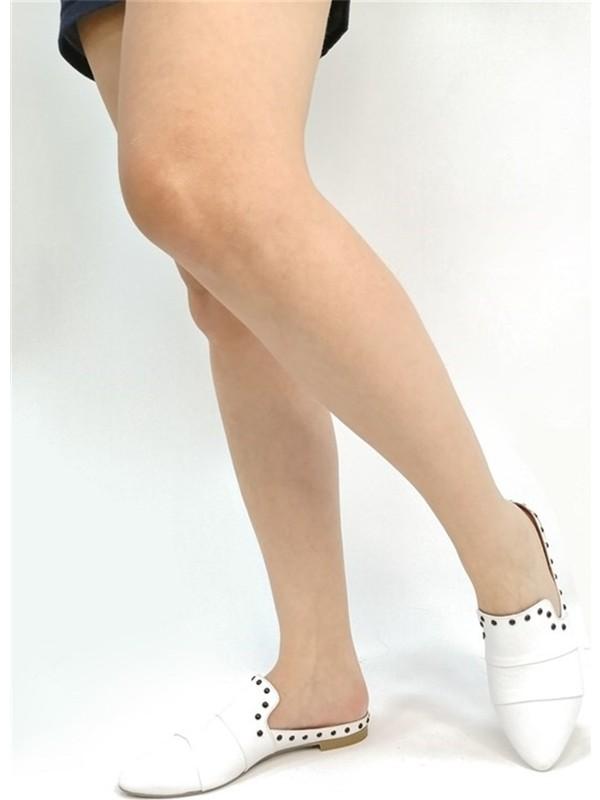 Ballerin's Deri El Yapımı Beyaz Terlik BLRS-065