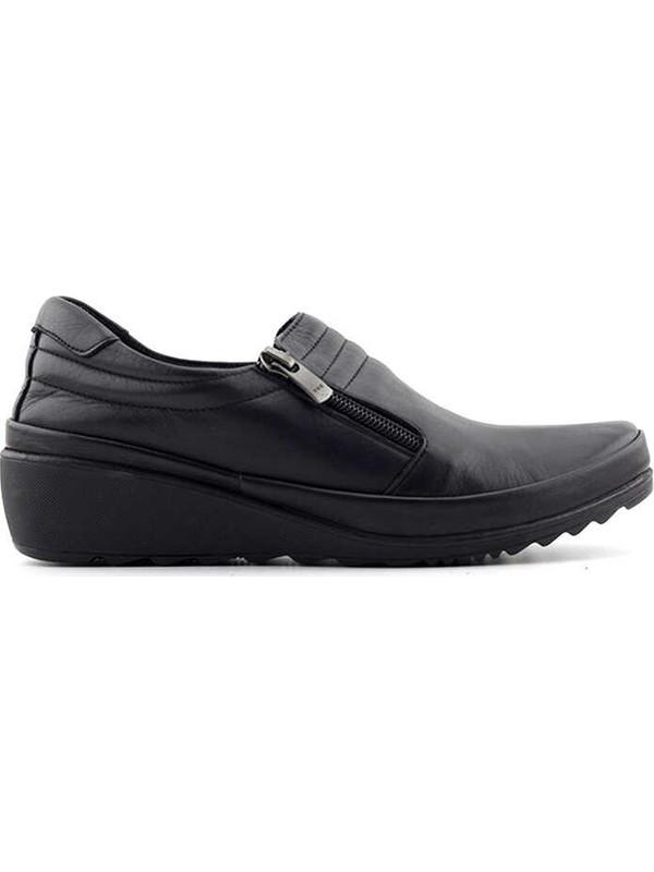 Evida 2424 Deri Kadın Ayakkabı-Siyah