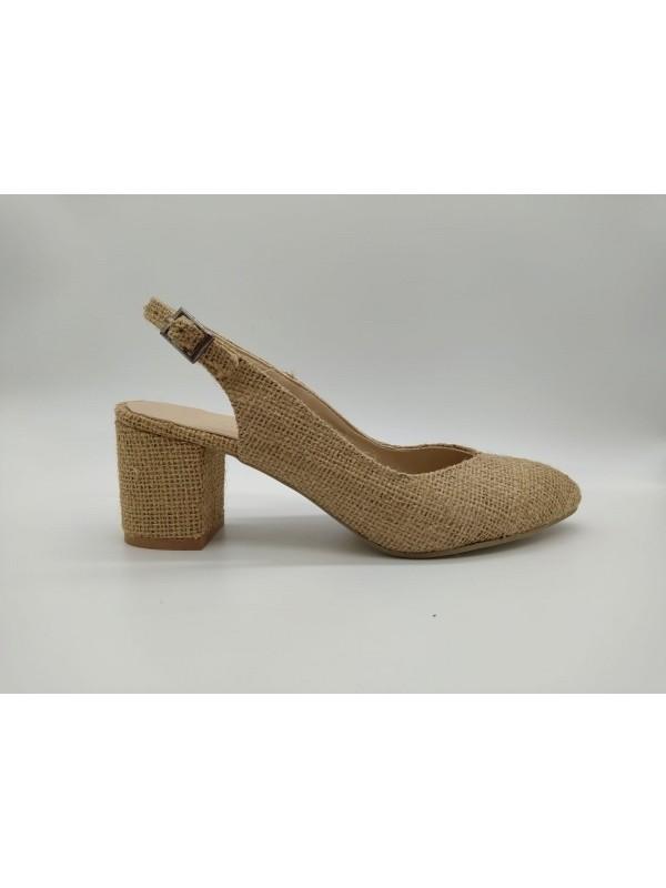 Lima Kalp Hasır Arka Geçme 6 cm Topuklu Kadın Ayakkabı