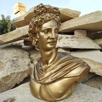 3D Product Sale Altın Apollo Heykeli Dekoratif Büst Obje Biblo Figür