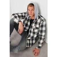 Buratti Çıkarılabilir Kapüşonlu Ekoseli Slim Fit Kışlık Gömlek Erkek Gömlek CF21W112926
