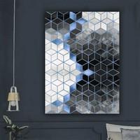 Ören Petek Desen Mavi Siyah Renk Dijital Kaymaz Termal Taban Halı