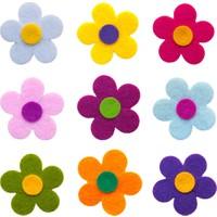 Toptan Keçe Keçe Renkli Çiçek Figürleri 25 Adet Keçeden Çiçek Süsleri