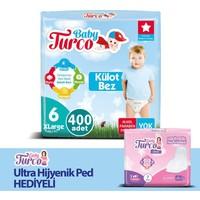 Baby Turco Külot Bez 6 Beden 400'lü + Hijyenik Ped
