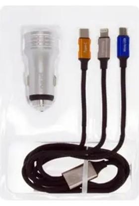 Preo My Mobile MMU19 Araç Şarjı + 3 Çıkışlı Şarj Kablosu 1 Metre