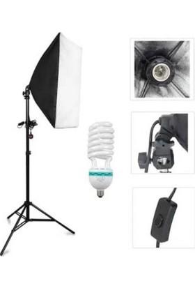 Fototek 50 x 70 cm Tek Duylu Softbox Ampüllü Tekli Sürekli Işık Seti Lambalı